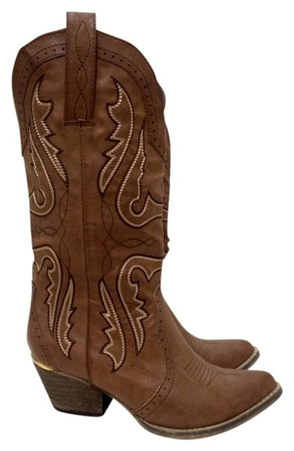 Item - Stone Western Taupe Brown Cowboy Cowgirl Boots/Booties Size US 7 Regular (M, B)