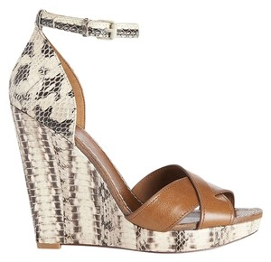 Tory Burch Leather Detachable Strap High Heel Brown / Snakeskin Wedges