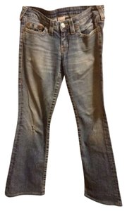 True Religion Distressed Boot Cut Jeans-Light Wash