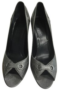 Dior Quilted Leather Peep Toe Grey Pumps