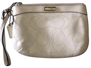 Coach Coach Op Perforated Leather Wristlet