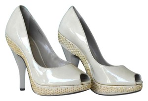 Burberry Patent Leather Peep Toe Heels Cream Pumps