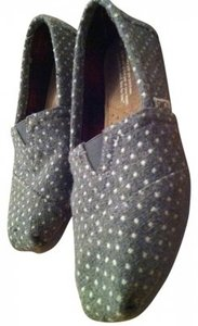TOMS Size 5 5 Polka Dot Cute Shic Shabby Comfy Fuzzy Leather Gray Flats