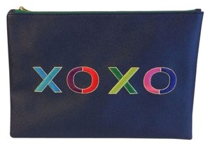 C. Wonder Zip Pouch Embroidered Faux Leather Navy Blue Clutch