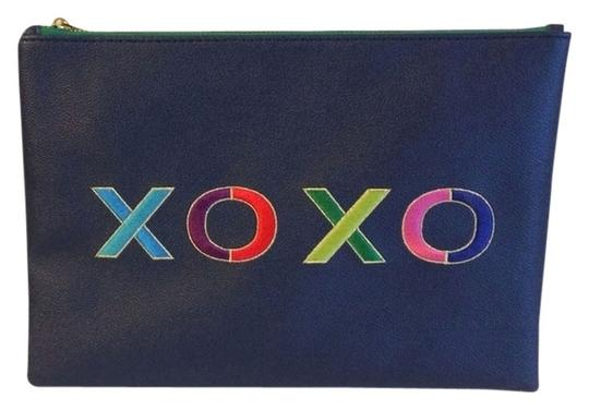 Preload https://img-static.tradesy.com/item/1728521/c-wonder-embroidered-xoxo-zip-pouch-navy-blue-synthetic-leather-clutch-0-0-540-540.jpg