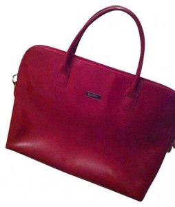 Louvier Good Cute Small Vintage Shabby Chic Leather Tote in Red