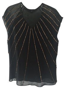 Banana Republic Top Black with Gold Beading