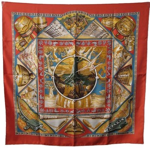 Hermès Authentic Hermes Au Son Du Tam Tam Silk Scarf C1993