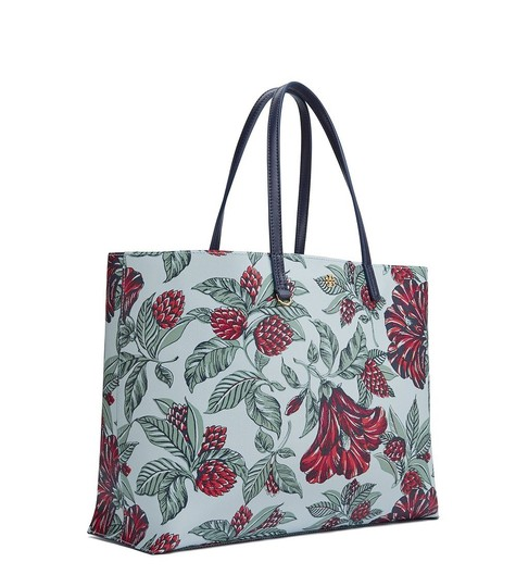 Tory Burch Floral Vintage Large Travel Classic Tote in GREEN multi color Image 4