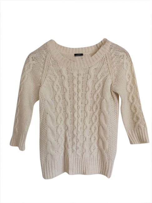 Preload https://img-static.tradesy.com/item/1728641/jcrew-cream-wool-cable-sweaterpullover-size-2-xs-0-0-650-650.jpg