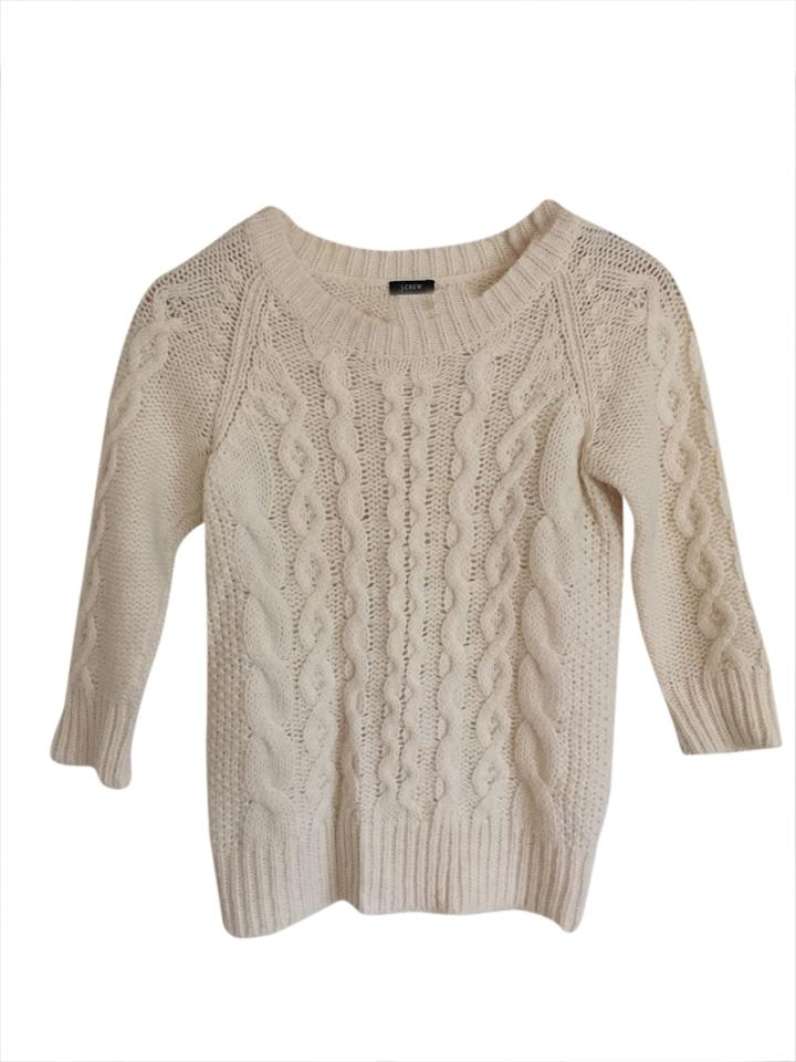 8717b5e46aae99 J.Crew Wool Cable Cream Sweater - Tradesy
