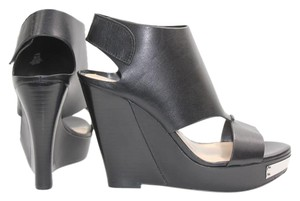 Vince Camuto Leather Wedge Cut-out Black Wedges