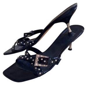 Stuart Weitzman Black Patent Leather Sandals