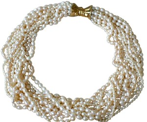 12 STRAND BIWA FRESHWATER PEARL NECKLACE, 14K GOLD CLASP, CUSTOM MADE