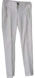 L.A.M.B. Zipper Accents Vented At Ankle Designer Leg Straight Pants White