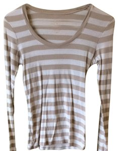 Old Navy T Shirt Taupe And White Stripe
