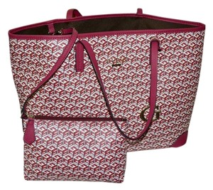 Guess East/west G Cube Canvas Tote in Crimson G-Block print