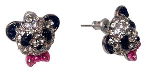 Betsey Johnson Betsey Johnson PandaStud Earrings Black White Pink Crystal J2739