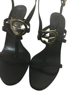 Gucci Evening Classic Gold Leather Black Sandals