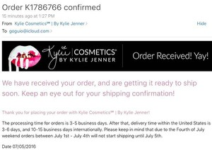 Kylie Cosmetics PROOF OF PURCHASE