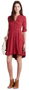 Anthropologie short dress Red Fitted Comfortable Cotton Hi Lo Bohemian on Tradesy