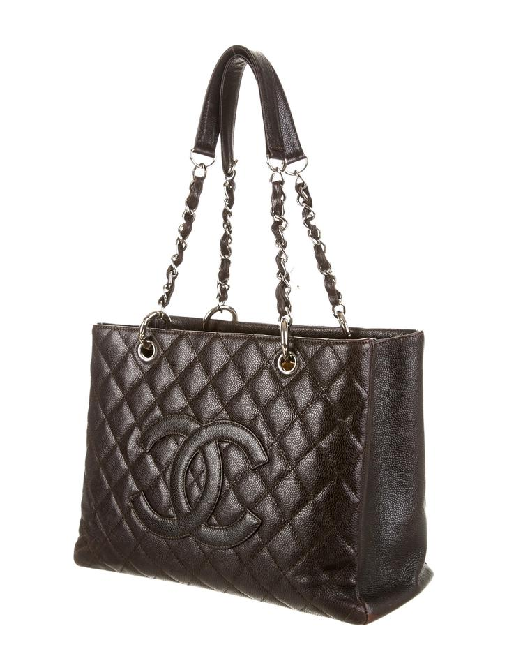 13f7a733d4e51b Chanel Grand Shopping Gst Quilted Classic Timeless Dark Brown Black Caviar  Leather Tote - Tradesy