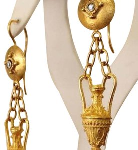 Cleopatra Style 18kt Yellow Gold Poison Vessel / Perfume Earrings