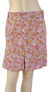 Ann Taylor LOFT Floral Stretch Belt Loops Pockets Skirt Multi-colored
