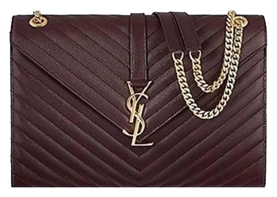 3ac69f05 Saint Laurent Monogram Kate Sl Bo Monogram Grain De Poudre Chain  Bordeaux/Brown Calfskin Leather Shoulder Bag