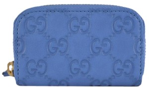 Gucci NEW Gucci 324801 Blue Leather GG Guccissima Mini Zip Around Coin Purse