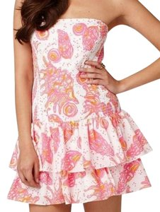 Lilly Pulitzer short dress White with Pink Preppy Resort Strapless on Tradesy