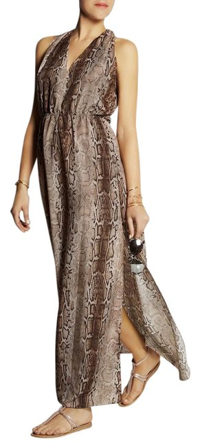Item - Snake Print - Light Brown White Chloe Maxi Dress Cover-up/Sarong Size OS (one size)