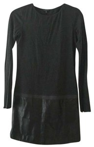 Theory short dress Charcoal with Black Leather Trim on Tradesy