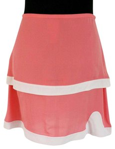 Cynthia Rowley Silk Coral Cute Tiered Mini Skirt Pink