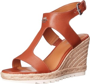 Coach Leeanne Espadrille Sandals Open Toe Brown Wedges