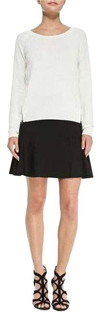 Tahari Flared A-line Stretch Fluted Professional Business Mini Skirt Black