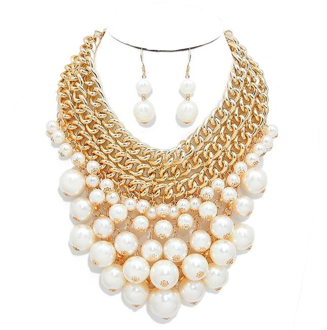 Cream Gold Lots Of Pearls Cluster Chain and Earrings Necklace Cream Gold Lots Of Pearls Cluster Chain and Earrings Necklace Image 1