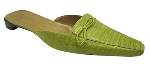 Gucci Lizard Made In Italy Lime Green Mules