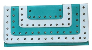 Other Oversized Studded Two-tone Faux Structured Turquoise Clutch