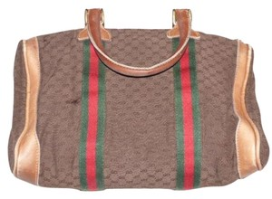 Gucci Doctor's Boston Great Pop Of Color Small Logo Early Satchel in brown with red and green