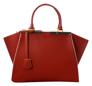Fendi New Leather Red Satchel in Brick (redish)