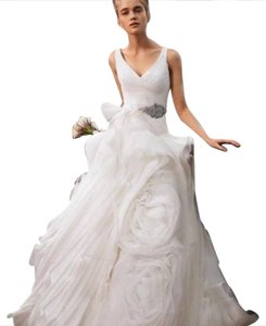 Vera Wang Ivory Organza White By Formal Wedding Dress Size 4 (S)
