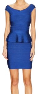 Hervé Leger Peplum Bandage Blue Bondage Open Dress