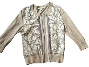 Banana Republic Lace Embroidered Zipper 3/4 Crew Cardigan