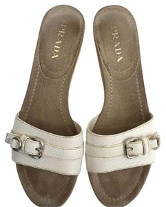 Prada Leather White Wedges