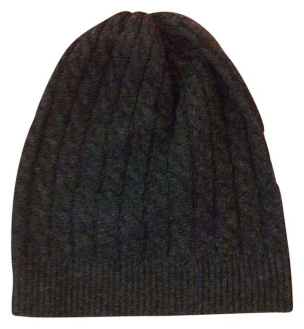 Item - Grey Wool Cable Knit Heather Beanie Hat
