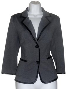 Laundry by Shelli Segal Jacket Leather Elbow Pad Grey Blazer