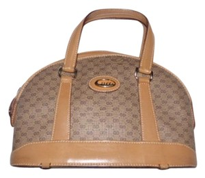 Gucci Vintage Small G Logo Print Excellent Condition Large Satchel in shades of brown