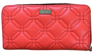 Kate Spade Quilted Leather Bright Orange Clutch