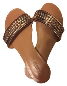 SCHUTZ Leather Sandals Camel Rose Gold Flats
